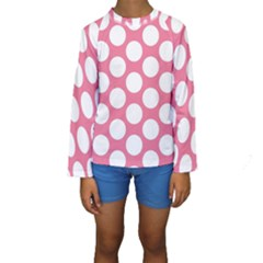 Pink Polkadot Kid s Long Sleeve Swimwear