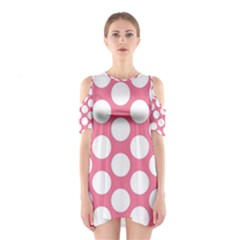 Pink Polkadot Cutout Shoulder Dress