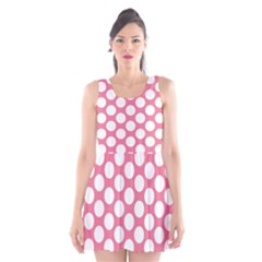 Pink Polkadot Scoop Neck Skater Dress