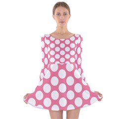 Pink Polkadot Long Sleeve Velvet Skater Dress