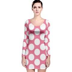 Pink Polkadot Long Sleeve Velvet Bodycon Dress