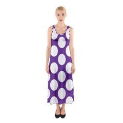 Purple Polkadot Full Print Maxi Dress