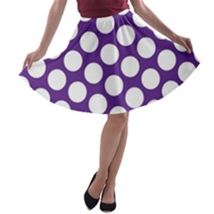 Purple Polkadot A-line Skater Skirt