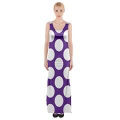 Purple Polkadot Maxi Thigh Split Dress