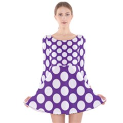Purple Polkadot Long Sleeve Velvet Skater Dress