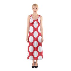 Red Polkadot Full Print Maxi Dress