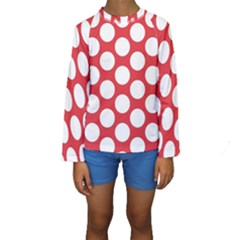 Red Polkadot Kid s Long Sleeve Swimwear