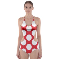 Red Polkadot Cut-Out One Piece Swimsuit