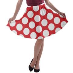 Red Polkadot A Line Skater Skirt