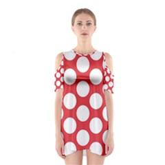 Red Polkadot Cutout Shoulder Dress