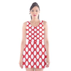 Red Polkadot Scoop Neck Skater Dress