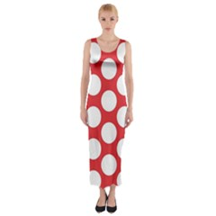 Red Polkadot Fitted Maxi Dress