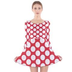 Red Polkadot Long Sleeve Velvet Skater Dress