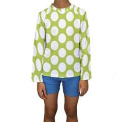 Spring Green Polkadot Kid s Long Sleeve Swimwear