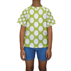 Spring Green Polkadot Kid s Short Sleeve Swimwear