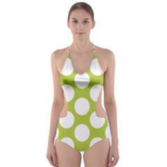 Spring Green Polkadot Cut Out One Piece Swimsuit