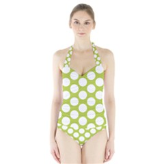 Spring Green Polkadot Women s Halter One Piece Swimsuit