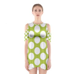 Spring Green Polkadot Cutout Shoulder Dress