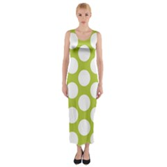 Spring Green Polkadot Fitted Maxi Dress