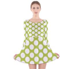Spring Green Polkadot Long Sleeve Velvet Skater Dress