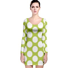 Spring Green Polkadot Long Sleeve Velvet Bodycon Dress
