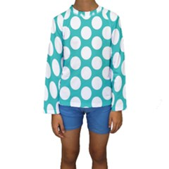 Turquoise Polkadot Pattern Kid s Long Sleeve Swimwear