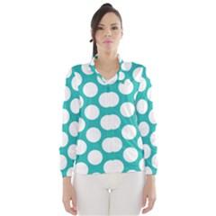 Turquoise Polkadot Pattern Wind Breaker (Women)