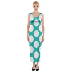 Turquoise Polkadot Pattern Fitted Maxi Dress