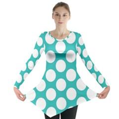 Turquoise Polkadot Pattern Long Sleeve Tunic