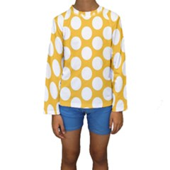 Sunny Yellow Polkadot Kid s Long Sleeve Swimwear