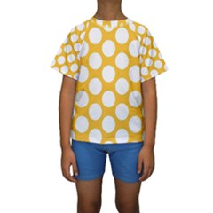 Sunny Yellow Polkadot Kid s Short Sleeve Swimwear