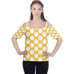 Sunny Yellow Polkadot Women s Cutout Shoulder Tee