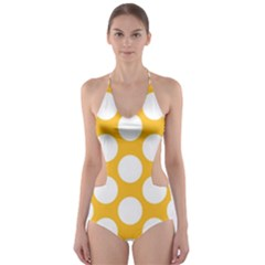 Sunny Yellow Polkadot Cut-Out One Piece Swimsuit