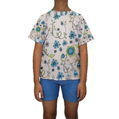 Whimsical Flowers Blue Kid s Short Sleeve Swimwear