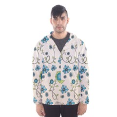 Whimsical Flowers Blue Hooded Wind Breaker (Men)