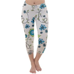 Whimsical Flowers Blue Capri Winter Leggings