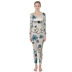Whimsical Flowers Blue Long Sleeve Catsuit