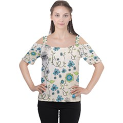 Whimsical Flowers Blue Women s Cutout Shoulder Tee
