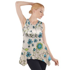 Whimsical Flowers Blue Side Drop Tank Tunic