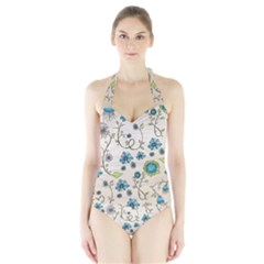 Whimsical Flowers Blue Women s Halter One Piece Swimsuit