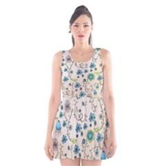 Whimsical Flowers Blue Scoop Neck Skater Dress