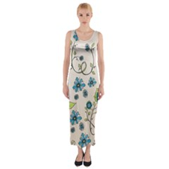Whimsical Flowers Blue Fitted Maxi Dress
