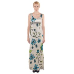 Whimsical Flowers Blue Maxi Thigh Split Dress