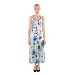 Blue Whimsical Flowers  on blue Full Print Maxi Dress