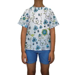 Blue Whimsical Flowers  on blue Kid s Short Sleeve Swimwear