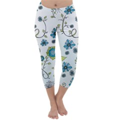 Blue Whimsical Flowers  On Blue Capri Winter Leggings