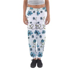 Blue Whimsical Flowers  on blue Women s Jogger Sweatpants