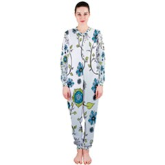 Blue Whimsical Flowers  On Blue Onepiece Jumpsuit (ladies)