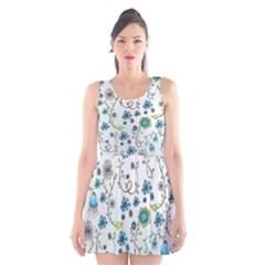Blue Whimsical Flowers  on blue Scoop Neck Skater Dress