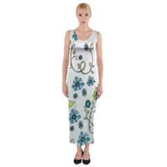 Blue Whimsical Flowers  on blue Fitted Maxi Dress